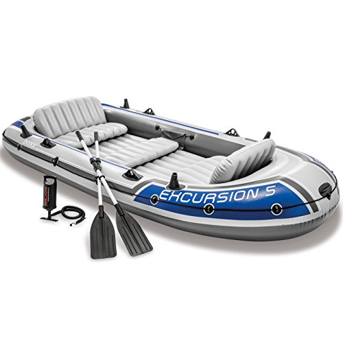 Free Float Quad Rail - Intex Excursion 5, 5-Person Inflatable Boat Set with Aluminum Oars and High Output Air Pump (Latest Model)
