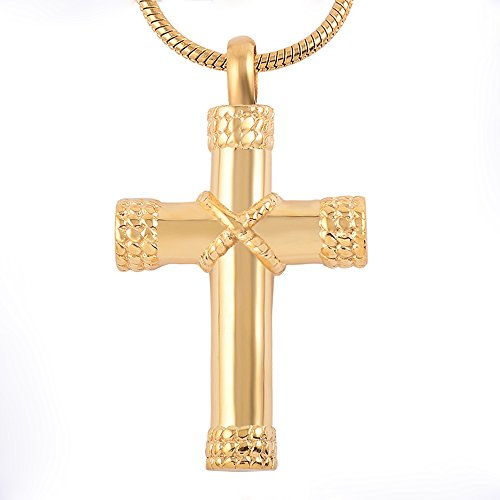 Gold Urn (Memorial Jewelry Cross Gold Religious Urns Necklace 20 Inch Chain And 2 Extend Chain Adjustable Cremation Urn Necklace)