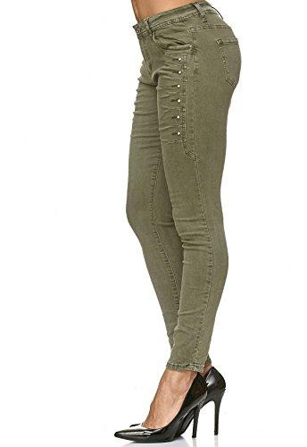 Rivetti Cachi Effetto Donna Hosen Jeans D2224 Verde Strass Arizonashopping Pantaloni Denim CwTfFgqnRx