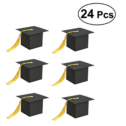 Graduation Tassel Ceremony - JANOU Graduation Cap Shaped Candy Boxes Gift Paper Sweet Boxes with Tassels for Graduation Ceremony Party Favors (Black) Pack 24pcs