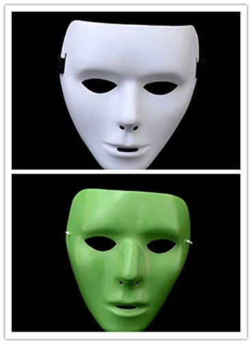 Abrante Hand - Painted Horror Face, Black and Luminous Masquerade Ghost Step Hip Hop Dance Mask for Halloween, Cosplay and Carnival Party (A&B)