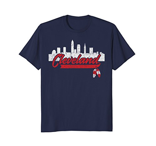 Mens Cleveland Shirt Cleveland Skyline Native American Feather Large Navy (Cleveland Indians Shirt)
