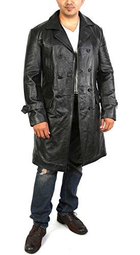 Hommes NOIR Trench Manteau De Cuir Double Breasted 3/4 Longue Classique Reefer Overcoat - NEO