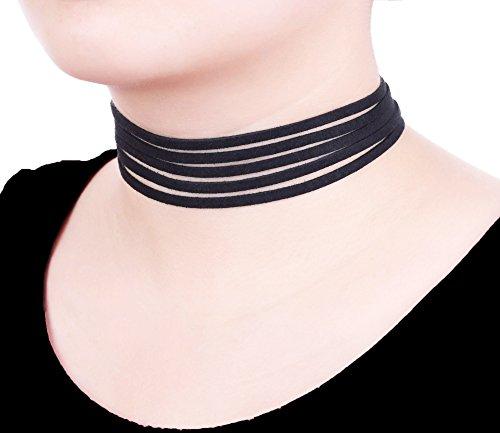 Uniqhia Leather Chain Necklace for Women Girls Choker Tassel Necklace Velvet Length Adjustable
