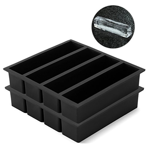 Vinkoe Kitchen Silicone Ice Cube Trays Large for Whisky, Collins Ice Cube Mold Tray Also Used for Butter Mold, 2 Count