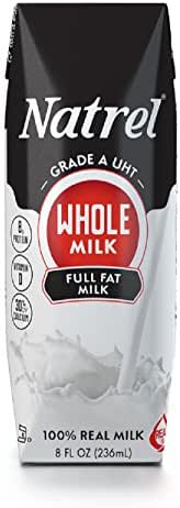 Natrel Whole Milk, 8 Ounce (Pack of 18)