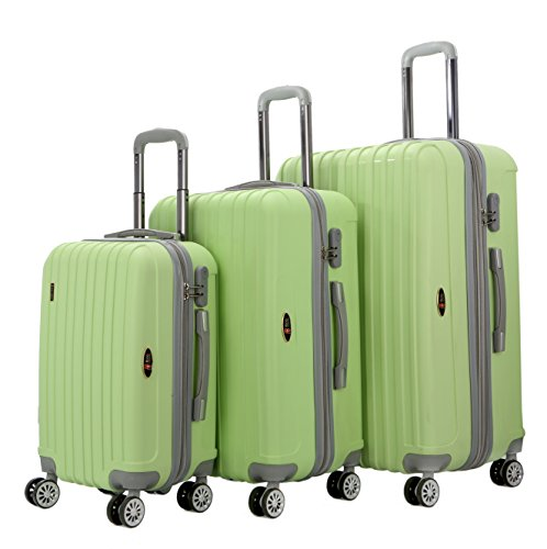 Tone Expandable Travel Set - Brio Luggage Two-Tone PP Thick-Ribbed Expandable Suitcase Set #PP313 (Green / Gray)