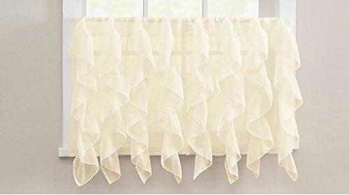 Lorraine Elegance Cascading Waterfall Ruffled Sheer Voile Kitchen Curtain Tier Pair (52