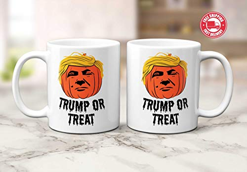 Trump or Treat halloween funny coffee mug 11 ounces, halloween gif -