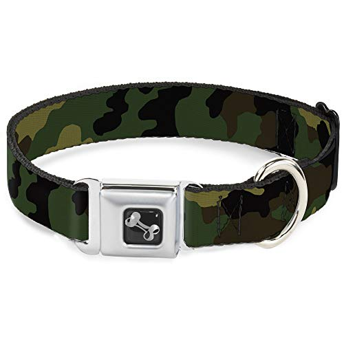 Buckle-Down Seatbelt Buckle Dog Collar - Camo Olive - 1.5