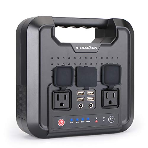 X-DRAGON 220WH/60000mAh Portable Generator Power Station Inverter Rechargeable CPAP Battery Pack Emergency Power Supply for Outdoor Camping Home Charged by Solar Panel Wall Outlet Car with 110V ()