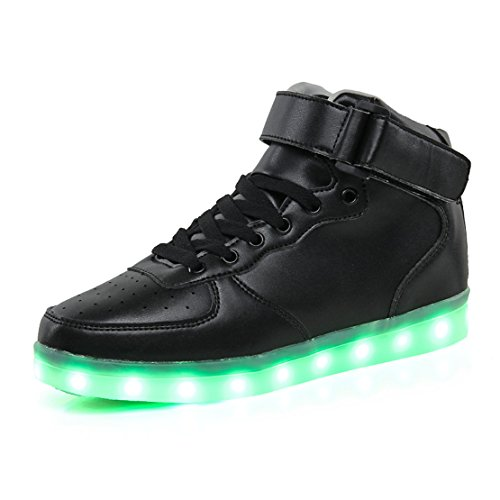 KEESKY High Top Led Light Up Sneakers for Womens Mens Ankle Boots Flashing Breathable Walking Shoes
