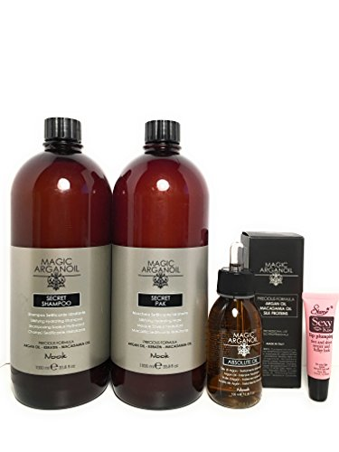 Maxima Nook Magic Argan Oil Shampoo 33.8 Oz,Magic Argan Oil Pak (Mask) 33.8 Oz and Arganoil Absolute Oil 3.38 Oz