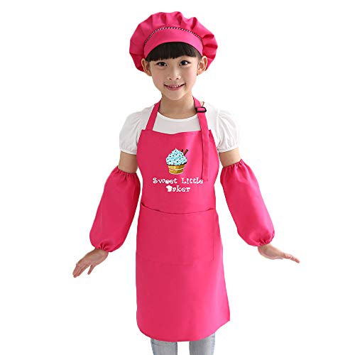 AlisaPrincessQ Cooking Apron Chef Hat Set Kid's Size, Children's Kitchen Cooking Costume for Toddler Chefs Kids Aged of 7-13 (Rose, Large(Age for 7-13)) -