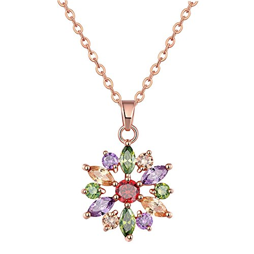 - OCARLY Multicolor Cubic Zirconia Necklace Crystal Pendant Bridal Engagement Party Fashion Jewelry - RAINBOW