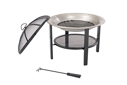 Sunjoy 26'' Verde Stainless Steel Fire Pit - Pewter finish Dome fire screen with high heat resistant paint Screen lift tool and wood grate included - patio, outdoor-decor, fire-pits-outdoor-fireplaces - 41K449fJGyL -