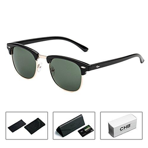 CHB Women's Men's Half Frame Rim Classic Wayfarer Sunglasses Polarized - Rim Half Wayfarer Sunglasses