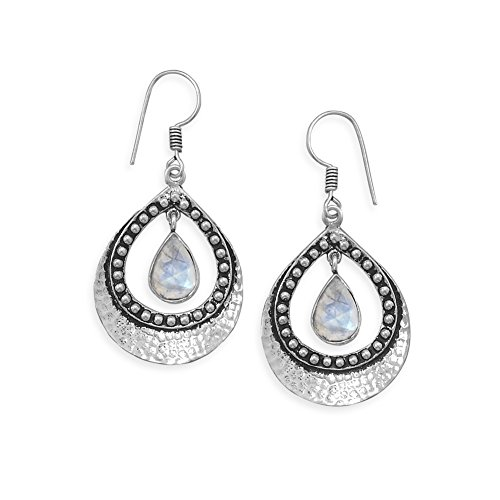 (Rainbow Moonstone Pear Shape Earrings Hammered and Bead Design Antiqued Sterling Silver)