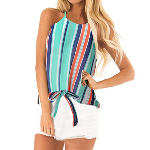 4Clovers Summer Spaghetti Strap Sleeveless Striped Round Neck Tie Knot Casual Camis Tank Tops