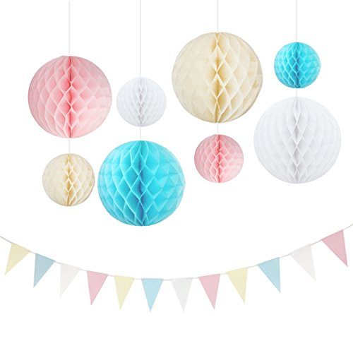 NICROLANDEE 20 Pcs Unicorn Party Decorations Hanging Paper Honeycomb Ball 2M Long Triangle Flags Paper Bunting Banner for Macaron Ice Cream Birthday Wedding Baby Shower Gender Reveal Decor Backdrop