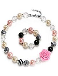 Rose Girls Cute Chunky Bubblegum Necklace and Bracelet Set Kids Birthdays Day Gift
