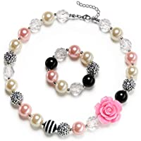 vcmart Rose Girls Cute Chunky Bubblegum Necklace and Bracelet Set Kids Birthdays Day Gift
