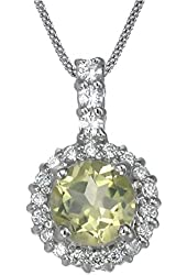 Vir Jewels Sterling Silver Lemon Quartz Pendant (1.20 CT) With 18 Inch Chain