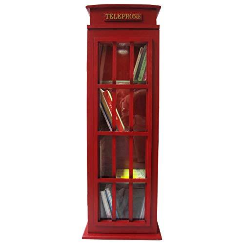 'Retro Vintage parete Vetrinetta/Vetrina 'inglese chiamata con porta in vetro e illuminazione –  Rosso CristalRay PREMIUM