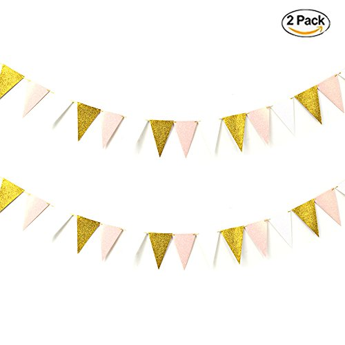 16 Feet Glitter Gold Pink White Garland Triangle Flags Paper Banner Bunting Vintage Style Pennant for Baby Shower Girl 1st Birthday Party Wedding (Do It Yourself Costume Ideas For Kids)