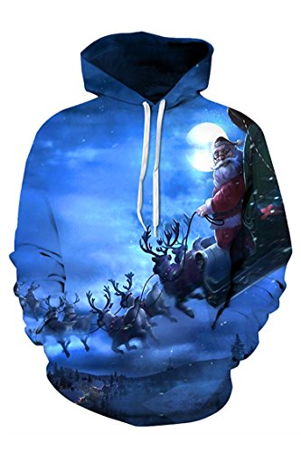 Viottis Unisex Santa Claus Print Ugly Christmas Sweatshirts Hoodies with Pocket - Jumper Short Sleeve Christmas