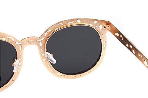 TININNA Vogue Femme Ossature Metallique Vintage Lunettes de Soleil Anti-UV400 Femme Avec Grande Cadre Rétro Argent