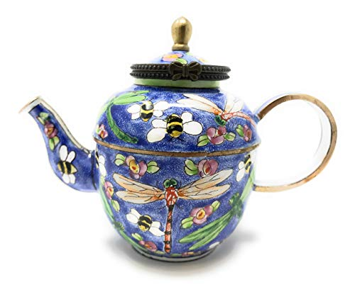 """Kelvin Chen Enameled Miniature Hinged Lid Teapot - Dragonfly and Bees, 3.25""""T"""