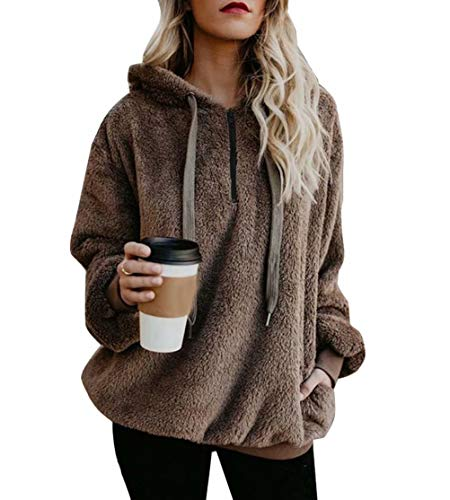 Fleece Hoodie Sweatshirt Zipper Plush Fuzzy Blouse Tops Sweatshirt Plus Brown XL by Adogirl