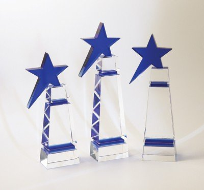 Blue Star Tower Crystal Award - Large ()