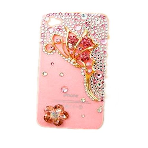 VIKEN 3D Bling Pink Red Butterfly Crystal Bow Case Cover for iPhone 4/4S(Style5 # Pink)
