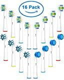 Replacement Brush Heads Compatible with Oral B Braun Electric Toothbrush Sensitive Gum Care - 16 Count Refills Includes 4 Sensitive Clean, 4 Floss Action, 4 CrossAction & 4 3D White