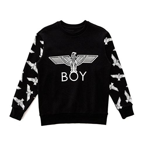 BOY London Unisex (S,M,L,XL) Eagle Patterned Sleeves Sweatshirt -Black-Gold,Black-Silver New_(BG4TL023) (Black-Silver, XLarge) by BOY London