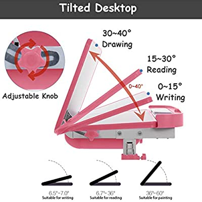 Sallymonday Kids Desk and Chair Set, Height Adjustable Children Study Table with MDF Tiltable Anti-Reflective Tabletop, Pull-Out Drawer Storage for 3-15 Years Old Kids, School Students (Pink): Kitchen & Dining