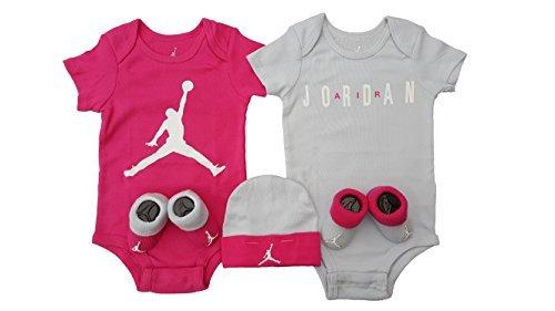 Nike Air Jordan Infant Boys or Girls 5-Piece Set (0-6 Months, Pink (5814) / Light Grey/White/Pink)