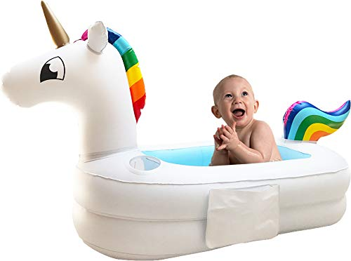 Plur Baby Inflatable Bath Tub and Portable Wash,Rainbow Unicorn for Infants 6-24 Months, Inflatable Buffet Cooler, Floating Ice Chest, Baby Shower Gift and Decoration 5