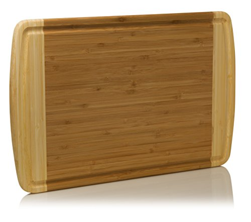 Extra Large Organic Bamboo Cutting Board – Plus FREE BONUS Set of Color-Coded Plastic Cutting Mats – Beautiful Two Toned Wood Design - Best Small Appliance Kitchen Accessory - by Leano Line