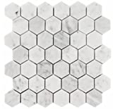 Carrara White Italian Carrera Marble Hexagon Mosaic Tile 2 inch Honed (5 PCS/CTN)