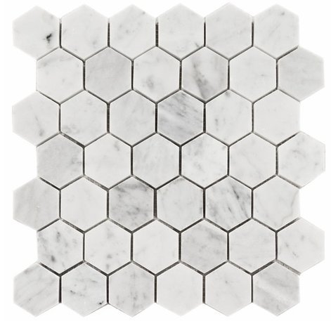 Carrara White Italian Carrera Marble Hexagon Mosaic Tile 2 inch Honed (5 PCS/CTN) by Vogue Tile