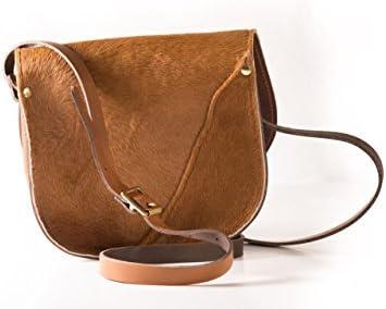 A to Z Leather Tan Pelz Rindsleder Echtes Rindsleder Sattel Crossbody Handtasche mit Schnalle und verstellbarem Riemen