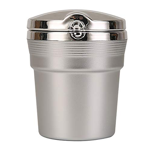 EKUPUZ Ashtrays with Lid for Cigarette,Cylinder Cup Cigarette Ashtray with Led Light Car Aluminum Alloy Ashtray for Patio Outside Home Tabletop