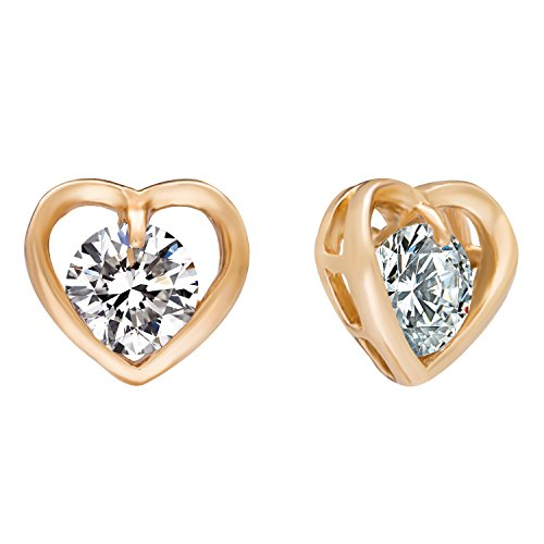 Romantic Time Hollowed Out Zirconia Heart Solitaire Style Dimentional 18k Rose Gold Plated Stud (Homemade Baby Butterfly Costume)
