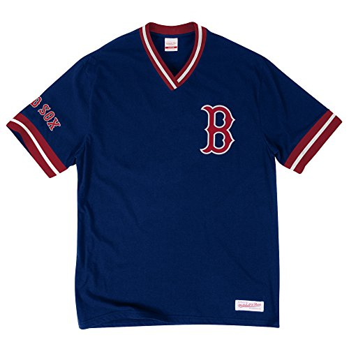 Boston Red Sox MLB Men's Overtime Win Vintage V-Neck T-Shirt (Navy Blue Boston Red Sox Jacket)