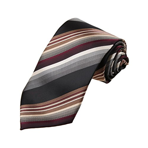 Brown Micro Stripe (DAA7A18B Black Gray Brown Stripes Microfiber Neck Tie Fashion For Bridegrooms Neckwear By Dan Smith)