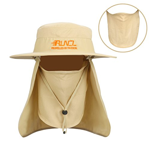 (RUNCL Sun Hat, Fishing Hat Sun Protection, Foldable Sun Cap with Wide Brim, Breathable Mesh Vents, Removable Neck Flap, Adjustable Chin Drawstring for Fishing Hiking Cycling Camping Traveling (Khaki))