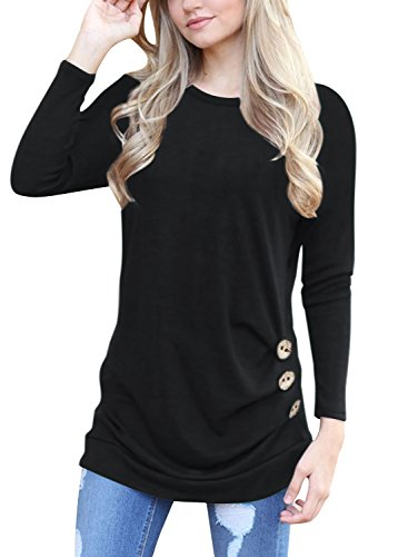 s Casual Long Sleeve Buttons Round Neck Shirt Tunic Tops,Black,Medium ()
